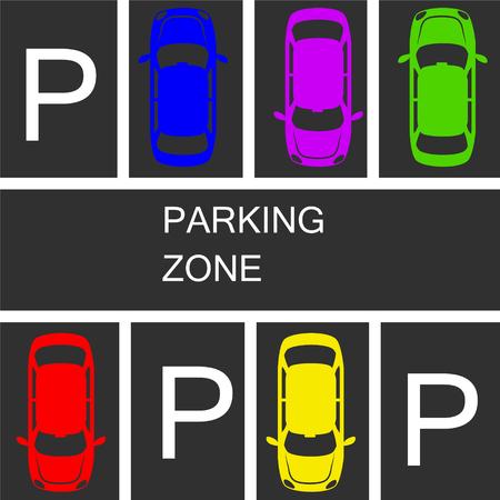 Parked cars in a parking zone over dark asphalt background.