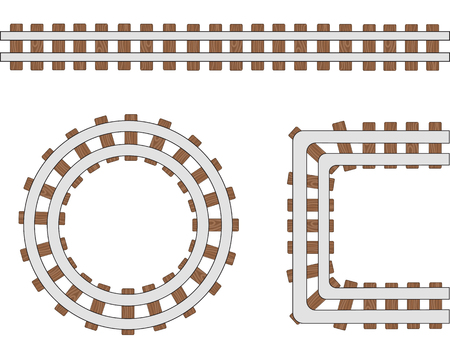 Passenger train vector rail tracks, railway line or railroad elements isolated on white background.