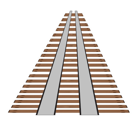 Railway tracks or rail road line on white background. Part of straight rail element vector stock illustration