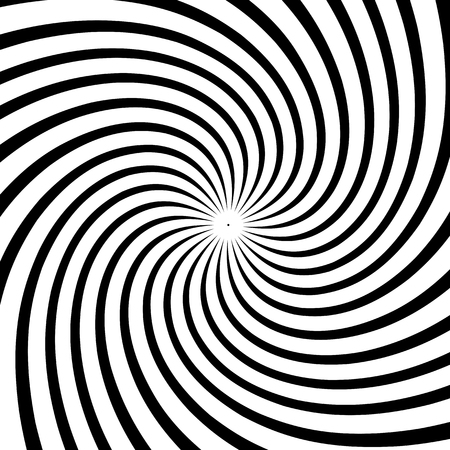 A black and white spiral optical illusion background. Stock vector illustration, monochrome