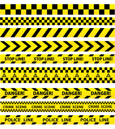 Black and yellow seamless tapes vector set