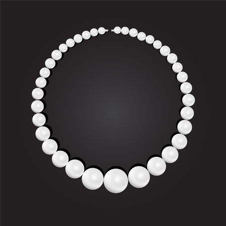 Pearl necklace on black background, stock illustration vector