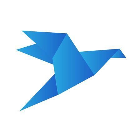 Origami bird crane isolated on white, stock vector illustration