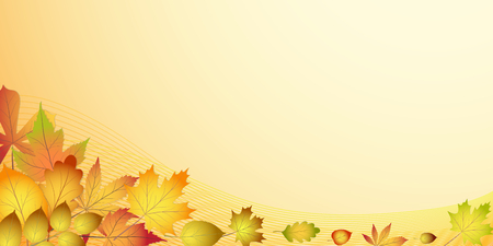 Stock vector banner with colorful red, orange, brown autumn leaves Illustration