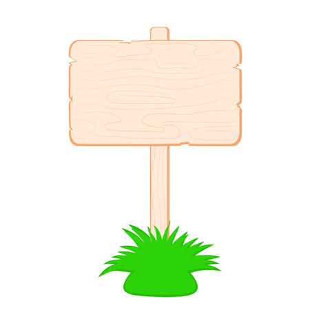 Vector illustration of wooden signboard. Cartoon style. Isolated on white. Illustration