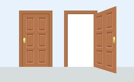 Otwarte i zamknięte drzwi frontowe domu. Drewniane otwarte wejście z świecącym światłem. Ilustracji wektorowych Ilustracje wektorowe