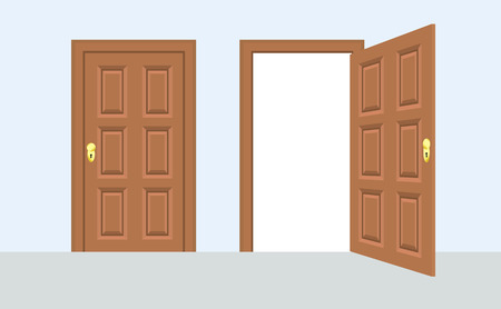 Open and closed door house front. Wooden open entry with shining light. Vector illustration