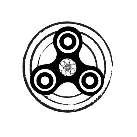 Black and white circle spinner. Fidget spinner hand drawn fashion stock vector illustration