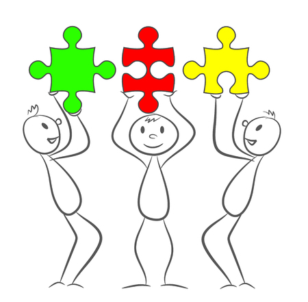 Three stick men with rectangle puzzle pieces. Eps 10 vector illustration