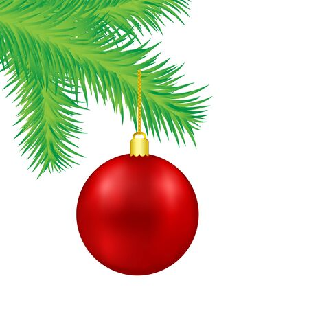 Red Christmas decoration ball on green fir tree branch, vector illustration