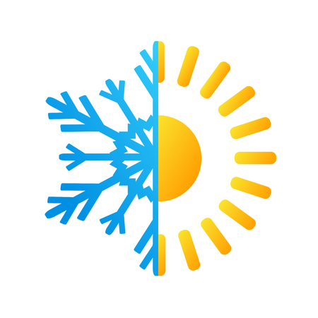 Hot sun and frost snowflake business logo.