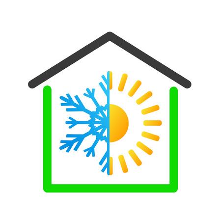 Warm or cold house business logo design. Stock vector illustration