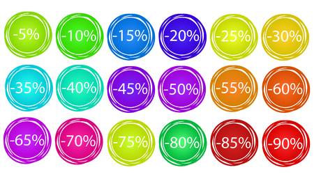 Set off colorful business sale off tags, stock vector illustration