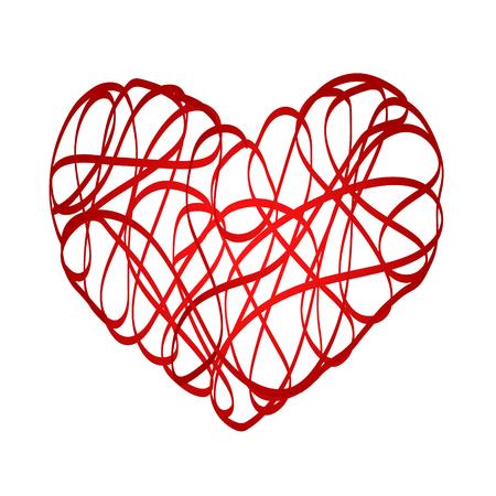 Red heart symbol love from ribbon, stock vector illustration Ilustrace