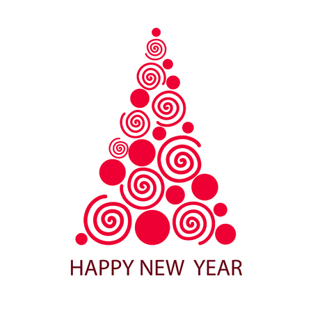 Happy New Year greeting card with christmas tree from balls and curves, for your design, stock vector illustration Vectores