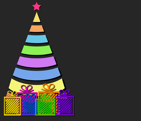 Colorful christmas tree and gift boxes over dark background, illustration.