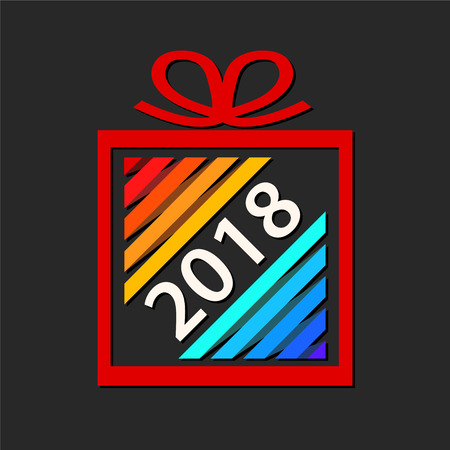 Colorful gift box from paper ribbon with 2018 design on dark background