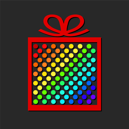 Colorful gift box from paper circles on dark background.