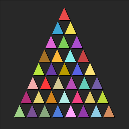 Color design christmas tree with triangles over dark background, merry christmas party invitation, stock vector illustration
