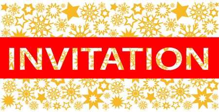 Party invitation design with gold stars and snowflakes, stock vector illustration