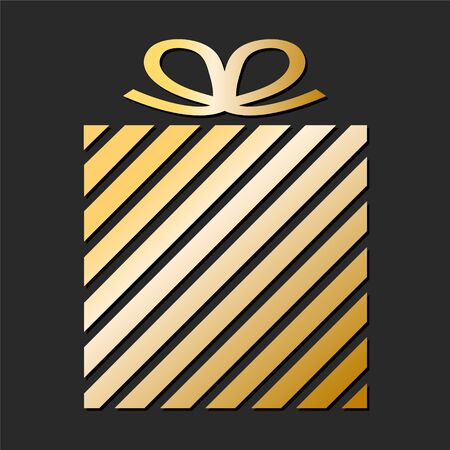 Golden Gift box from paper ribbon for your design Illustration