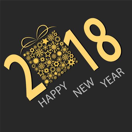 Happy New 2018 Year Greeting Card, stock vector illustration Illustration