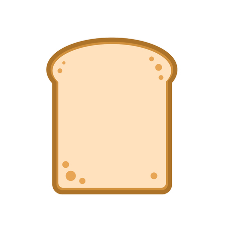Flat design single bread slice icon, vector illustration. Illustration
