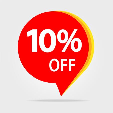 10% de descuento en banner de descuento de venta. Precio de oferta. Oferta especial venta etiqueta roja.