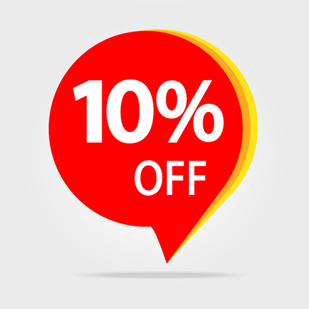 10% OFF Sale Discount Banner. Offer price tag. Special offer sale red label.