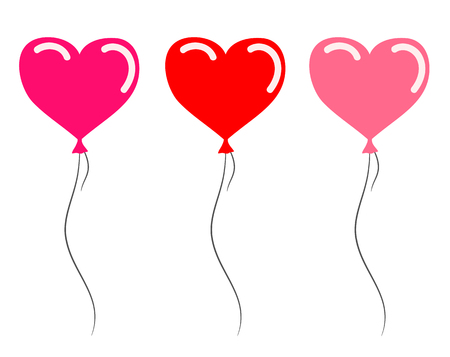 Red and Pink Heart Balloons for your design, stock vector illustration 일러스트