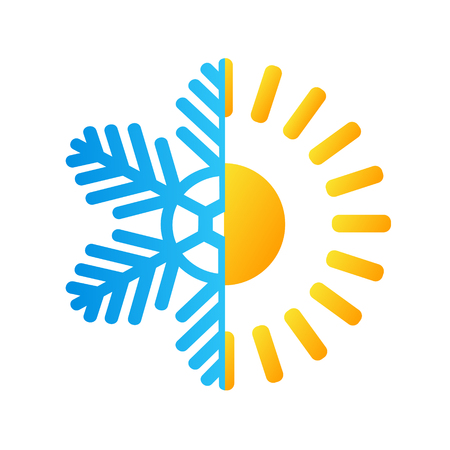 hot sun and frost snowflake business logo, stock vector illustration Illustration