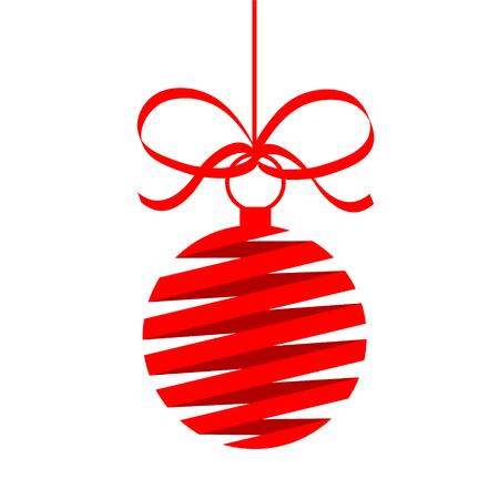 Red decor Christmas tree ball vector illustration