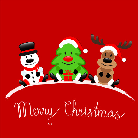 Merry Christmas greeting card with Reindeer, Snowman and Christmas Tree sitting on red background