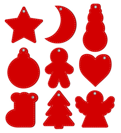 Red Hangtags Christmas or New Year, vector illustration.