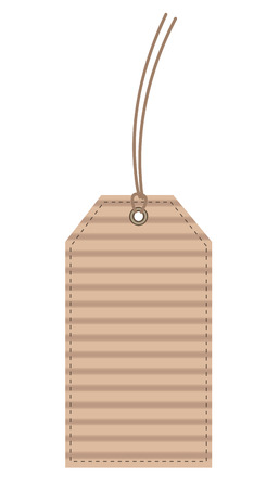 Beige Carton (Cardboard) Label Seam Tag isolated on White.