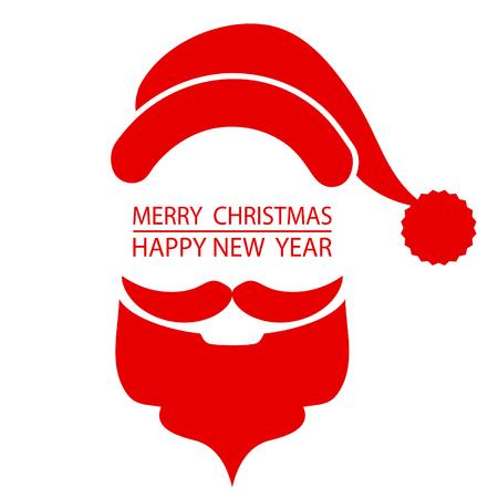 Santa's beard and hat on Christmas greetings card r