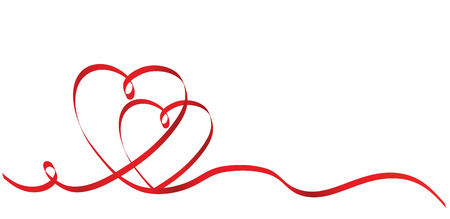 Calligraphy Two Red Heart Ribbon on White, Vector Stock Illustration