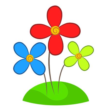 beautiful flowers plant design on grass, stock vector illustration