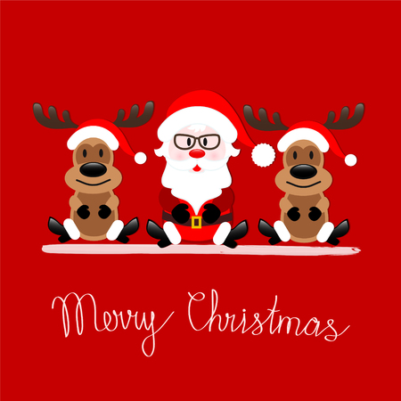 Merry Christmas greeting card with Santa Claus and Reindeer sitting on red background, stock vector illustration Vettoriali