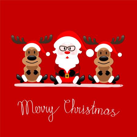 Cartolina d'auguri di Buon Natale con Santa Claus e la renna che si siedono sul fondo rosso, illustrazione di riserva di vettore