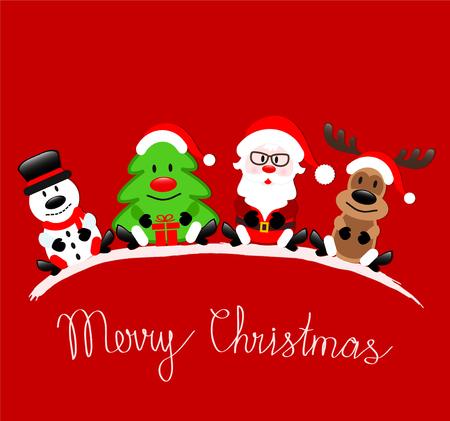 Cartolina d'auguri di Buon Natale con Babbo Natale, renne, pupazzo di neve e albero di Natale che si siedono su fondo rosso, illustrazione di riserva di vettore