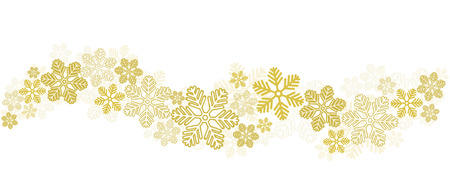 Gold Snowflakes Border on White, stock vector illustration