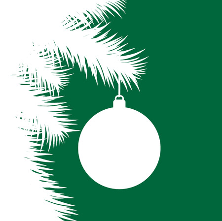 Silhouette of fir Christmas tree and decorative ball on green background like greeting card, stock vector illustration