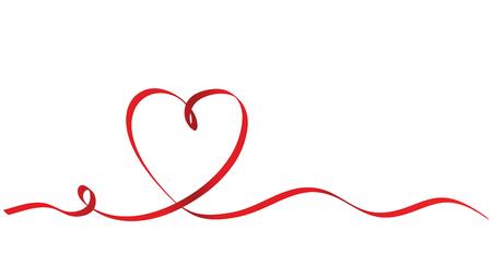 白い背景に書道赤リボンハート、ベクトルストックイラスト