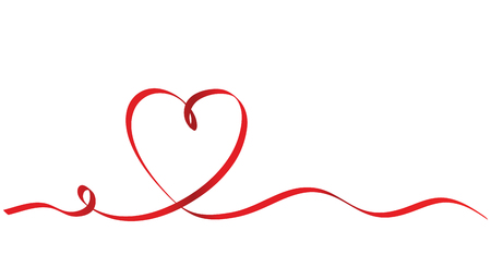 Calligraphy Red Ribbon Heart on White Background, Vector Stock Illustration Illustration