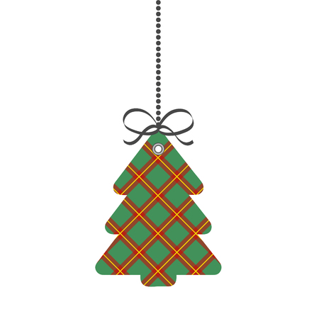 Tag Christmas or New Year Tree of Scotch Cage Textile, stock vector illustration