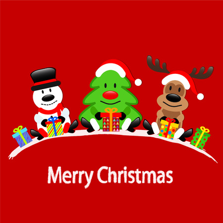 Merry Christmas greeting card with Reindeer, Snowman and Christmas Tree sitting on red background with gift boxes, stock vector illustration Vettoriali