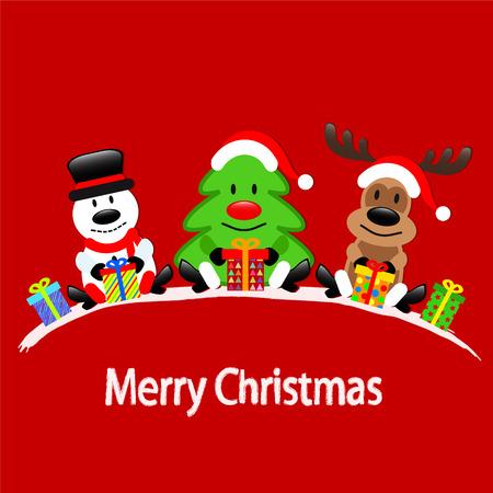 Cartolina d'auguri di Buon Natale con la renna, il pupazzo di neve e l'albero di Natale che si siedono sul fondo rosso con i contenitori di regalo, illustrazione di riserva di vettore
