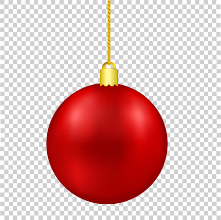 Red Christmas Decor Ball on Golden Thread isolated on transparent background, stock vector illustration Illustration