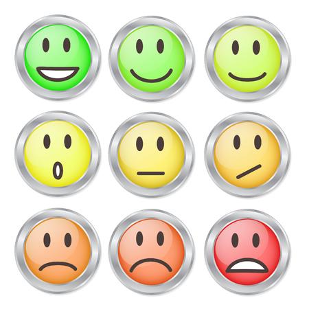 9 Smileys Mood Color on White, Stock Vector Illustration